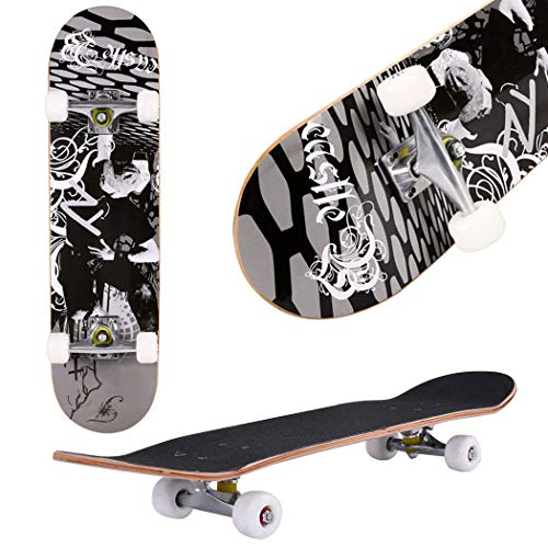 "top rated Aceshin skateboard, 31 ""x 8″ complete PRO skateboard, 9-ply Canadian maple, double strike … 2020"