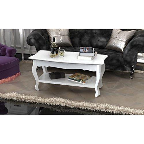 Festnight Tavolino da Salotto Livello Due in MDF e Legno, Bianco 87,5 x 42 x 44 cm