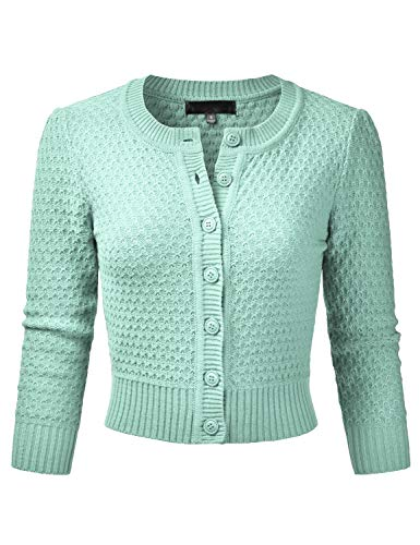 EIMIN Women's Crewneck Button Down 3/4 Sleeve Cropped Cardigan Sweater Aqua S