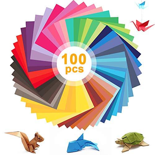 Origami Papier,Eyscoco Farben Quadratisches Faltpapier 100 Stück 50 Farben,Farben Faltpapier Für Bastelpapier Weihnachten Origami Papier DIY Kunst Und Bastelprojekte