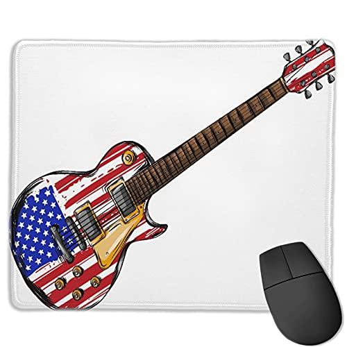 Gaming Mouse Pad Benutzerdefiniert,E-Gitarre amerikanische Flagge,Office Rectangle rutschfeste Gummi-Mauspad für Computer Laptop 9.8