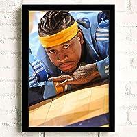 ポスター アートポスター A3 Allen Ezail Iverson (15) 映画 ター キャンバスアート 玄関 木製 部屋飾り 30cm x 20cm フレーム ブラック