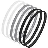 6 Pcs Non-slip Elastic Headband Sport Headbands for Women and Men Thin Sport Headbands Suitable forYoga, Running (Black,Gray,White)