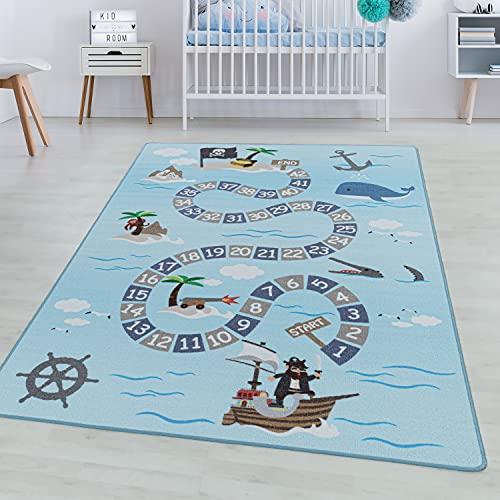 SIMPEX Tapis à Poils Courts Tapis de Enfants Pirates maritimes Tapis de Jeu Bleu, Couleur:Bleu, Taille:140x200 cm