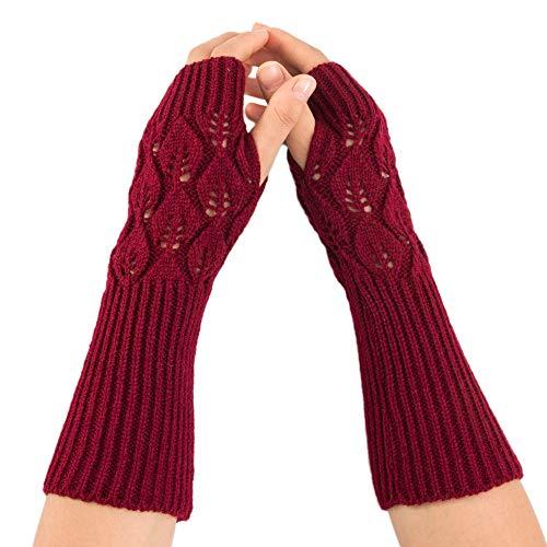 OSYARD Damen Pulswärmer Handwärmer Handschuhe Halbfinger Wollhandschuhe Winterhandschuhe Strickhandschuhe, Frauen Armstulpen Wrist Warmers Winter Armwärmer Gestrickte Fingerlose Handschuhe