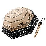 世界初!大きく広がる耐風トランスフォーム傘ネコ柄【UVカット99.99%】晴雨兼用傘 ベージュ×ブラック