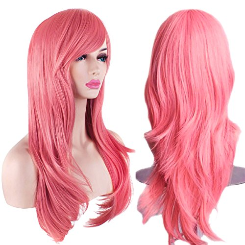 """AKStore Fashion Wigs 28"""" 70cm Long Wavy Curly Hair Heat Resistant Wig Cosplay Wig For Women With Free Wig Cap (Pink)"""