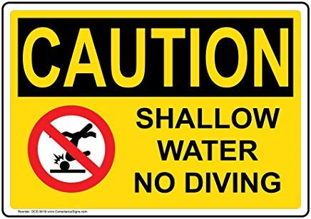 OSHA Voorzichtigheid Geen Zwemmen/Duiken Info in Engels Metaal Waarschuwingsborden, Privé Teken, Tuin Hek Yard Sign 8