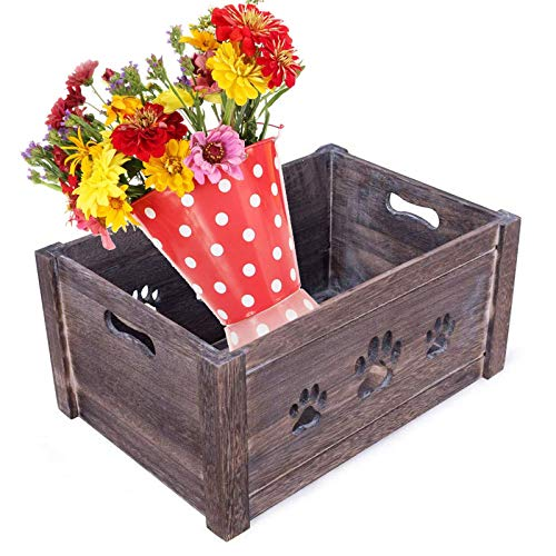YLLN Juguetes para perros en forma de pata Caja de almacenamiento en el pecho Cajas de madera Cajas de regalo, Cajas de anidación rústicas Cesta de regalo de granja, Jardinera, Contenedor de almacenam