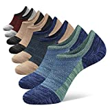 Closemate 8 Pairs Mens No Show Socks Low Cut Invisible Cotton Casual Trainer Socks with Non-Slip Grip (2Green2Blue2Beige2Red, Size L)