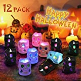 LUNSY Halloween deko Led Kerzen Skelett Kerzenlicht 12LED Flackern Tee Lichter für Weihnachten Halloween Party schrecklichAtmosphäre …