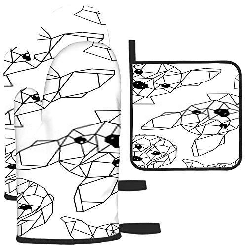xinfub Con bozales geométricos de perros, guante de horno blanco y negro y soporte para ollas, traje de dos piezas para cocina, resistente al calor, asado, máquina de barbacoa