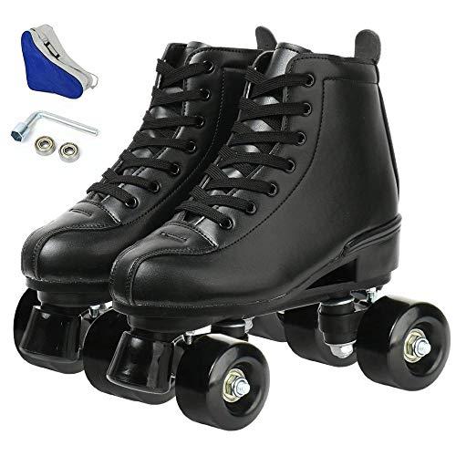 Patines clásicos artísticos de piel sintética con 4 ruedas de patinaje para hombre y mujer, unisex, para adultos (rueda negra negra, 255/uk7.5/eur41)