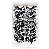 TEESTOU 25MM Lashes Mink Strip 8 Pairs Super Long Big Thick Dramatic False Eyelashes Wispy Full 23-25 mml Lashes Makeup (25mm Wispy)
