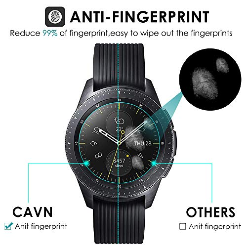 CAVN-4-Pack-Screen-Protector-Compatible-with-Samsung-Galaxy-Watch-42-mm-Tempered-Glass-Waterproof-Screen-Guard-Cover-Compatible-with-Samsung-Galaxy-42-mm-Rose-GoldMidnight-Black-Watch