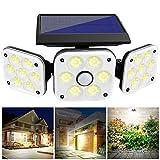 Solar Motion Sensor Security Light Outdoor Wall Lamp with 270°Adjustable Head 138 LEDs Flood Light Waterproof for Garden Entryway Patio Yard Garage