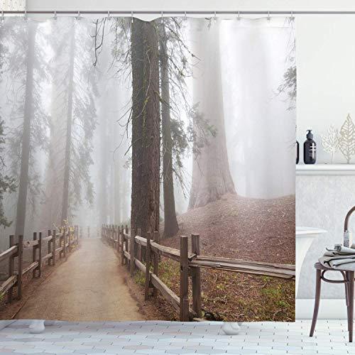 Alvaradod Yosemite Duschvorhang,immergrüner Wald & Gehweg im Sequoia National Park Foggy Morning Nature Art,Badezimmerdekor aus Stoffgewebe,grau-braun mit 12 Kunststoffhaken 180x210cm