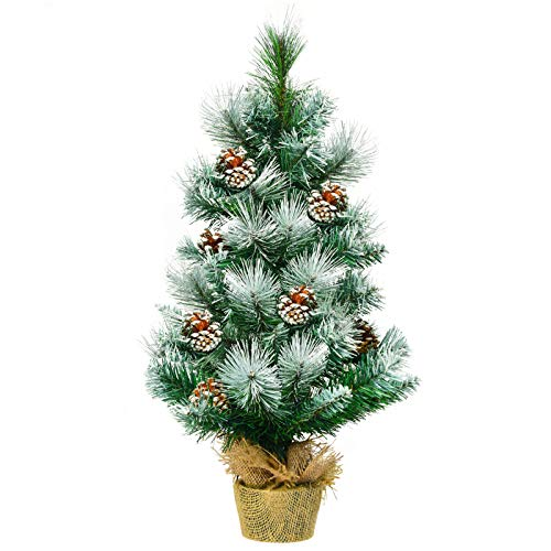 COSTWAY 2FT/ 4FT Christmas Tree, Small Artificial Xmas Trees with Pine Cones and Base, Holiday Decoration for Indoor Tabletop Garden Pathway (Green + White, 2FT)