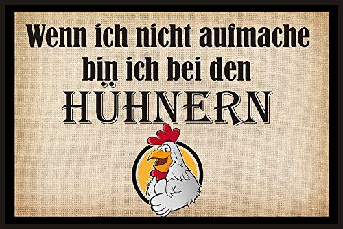 Creativ Deluxe Wenn ich Nicht aufmache Bin ich bei den Hühnern - Fussmatte Bedruckt Türmatte Innenmatte Schmutzmatte lustige Motivfussmatte