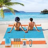 Beach Blanket Oversize, Yirilan Sand Free Beach Mat, Waterproof Beach Cover 79''X 83''for Whole Family, with Magic Anchor Lightweight Quick Dry for Travel Picnic Camping
