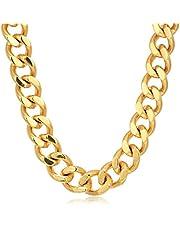 قلادة معدنية معدنية ثقيلة من الفولاذ المقاوم للصدأ من كروسيبل جولري، 24 بوصة، ذهبي