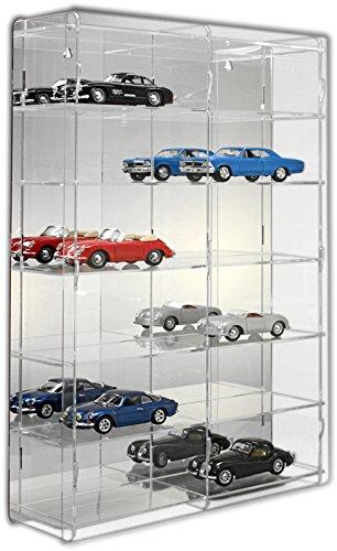 SORA Vetrina espositiva per modellini auto in scala 1:24 con pannello posteriore a specchio