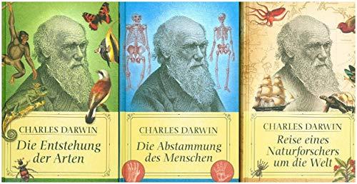 Charles Darwins Hauptwerke (3 Bände): Die Entstehung der Arten, Die Abstammung des Menschen, Reise eines Naturforschers um die Welt