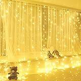 Yizhet Luces de Cadena de Cortina, 3x 3m 300 LED Cortina Luces Luz de Cortina USB con Mando a Distancia 8 Modos de Luz, Resistente al aguapara para Decoración Ventana,Navidad,Fiestas (Blanca Cálida)