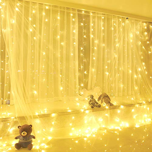 Yizhet Tenda Luminosa 3x3m 300 LED Natale Tenda Luci, Impermeabile IP44 Luci per Tende con Telecomando 8 Modalità Stringa Luce Catena per Esterni, Interni, Camera da Letto, Giardino (Bianco Caldo)