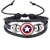 Towel Rings Bracelet Captain America Shield Badge Superhero Marvel Bracelet en Cuir Captain America 2pcs