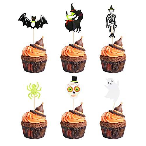 Partymaster Halloween-Dekorationen, 48 Stück Skeletts, Fledermaus-Futter, Zahnstocher, Cupcake-Muffin-Aufsätze, gemischte Verpackungen