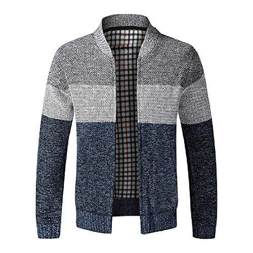 Chaqueta de punto de rayas de manga larga suéter de algodón casual