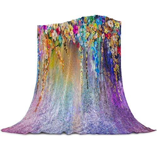 Flannel Fleece Blanket Floral Plants Super Soft Warm Cozy Throw Blanket Watercolor Flowers Periwinkle Cane Multicolor Bed Couch Car Blankets for All Reason 50x60inch