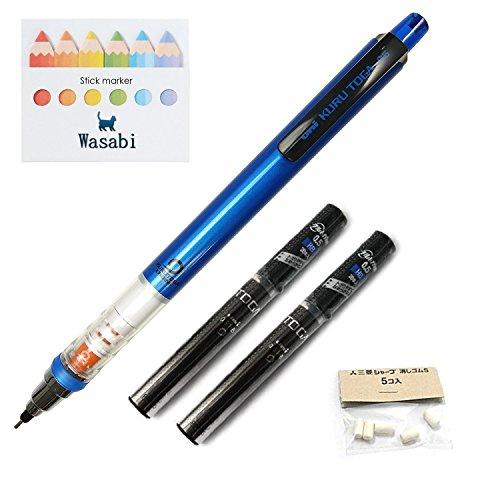Uni Kurutoga Mechanical Pencil Standard, 0.5mm, Navy & Kuru Toga Pencil Lead - 0.5mm � HB, 20 Leads X 2-pack/Total 40 leads & Spare Erasers & �Wasabi� Sticky Note (Navy Barrel)