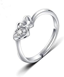 Lozse Anelli regolabili A forma di cuore settimana zircone argento anello anello anti-allergia compleanno regalo invia ami...