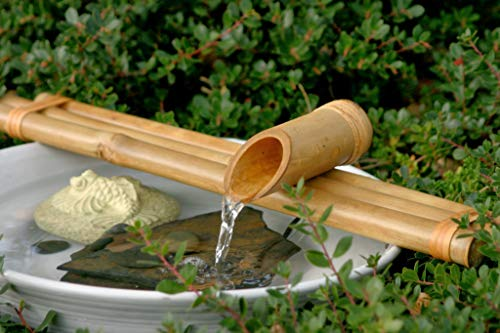 Bamboo Accents Water Fountain & Pump Kit – 18 inch, 3 Arm Style Split-Resistant All Natural Bamboo – DIY Indoor/Outdoor Zen Garden - Fits 15-30 inch Bowl (not Included)