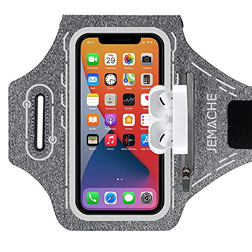 JEMACHE Running Brazalete para iPhone 12 11 XR X XS 12Pro, Samsung Galaxy S21 S20 S10 S9 S8, Deportivo Correr Móvil Brazo Banda Funda con Soporte para Airpods Pro (Gris)
