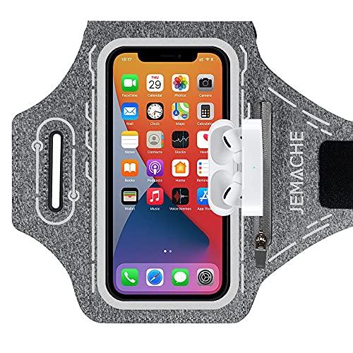 JEMACHE Running Brazalete para iPhone 12 Pro MAX, 11 Pro MAX, XS MAX, 12, 12 Pro, 11, XR, Deportivo Correr Móvil Brazo Banda Funda con Soporte para Airpods Pro (Gris)