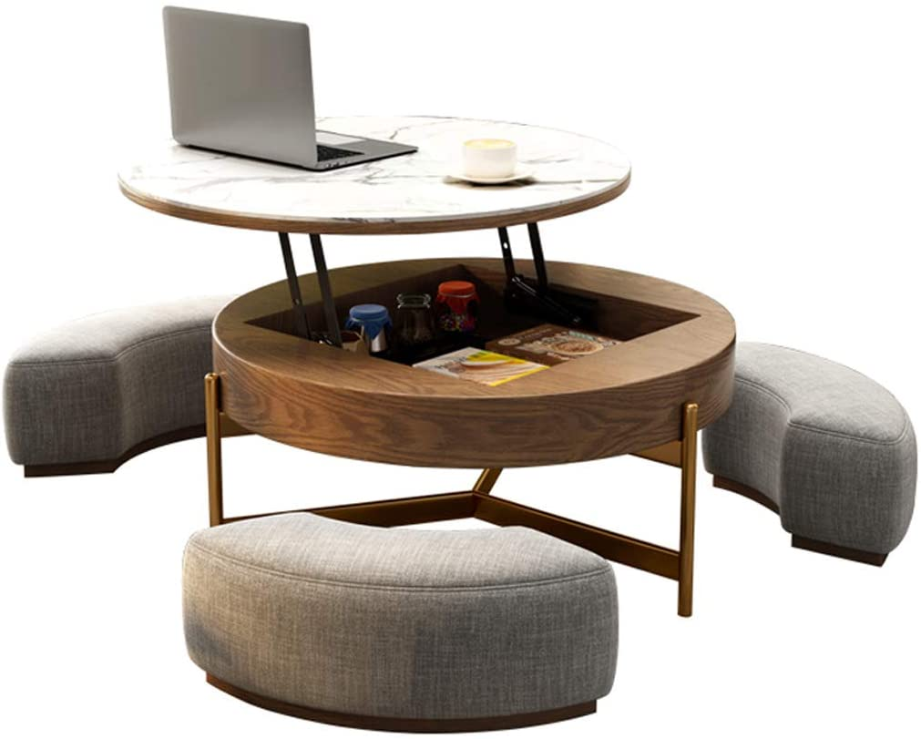 Amazon Com Creative Round Coffee Table And Liftable Desk Tempered Glass Table Top With 3 Combined Stools For Living Room And Office Kitchen Dining