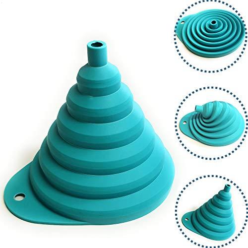 Kerafactum Silikon Trichter faltbar Faltbarer Trichter Silikontrichter | Trichter für Küche & Haushalt aus Kunststoff Silikon | Küchenhelfer Silicon Kleiner Einmachtrichter Einfülltrichter Funnel