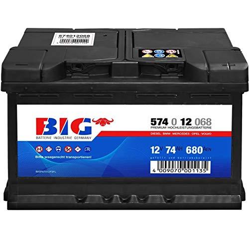 BIG Silver Edition Autobatterie 12V 74Ah 680A Starterbatterie DIN 57412