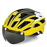 VICTGOAL 自転車 ヘルメット 大人用 LEDライト付きサイクルヘルメット 磁気ゴーグル 防虫ネット ロードバイクヘルメット 超軽量 高剛性 サイクリングヘルメット サイズ調整可能 男女兼用 自転車ヘルメット 57-61cm (新しい黄)