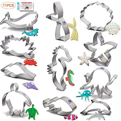 Under The Sea Cookie Cutter Set 11 Piece with Recipe Stainless Steel Crab, Seahorse, Clownfish, Wheal, Dolphin, Octopus, Starfish, turtle, Mermaid Tail, Shell, Conch, Ocean Creatures Cutter
