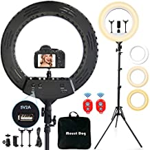 18 Inch LED Ring Light with Tripod Stand & 3 Phone Holder & 2 Bluetooth Remotes, MOUNTDOG Dimmable Makeup Selfie Ringlight Lighting Kit for Photography/YouTube Videos/Live Stream/Camera