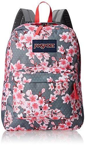 JanSport SuperBreak One - Mochila ligera para escuela, diseño de plumeria, color rosa