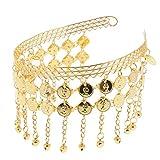 IPOTCH Haarbänder Stirnband Haarreife Kopfschmuck für Orientalischer Tanz, Damen Schmuck mit Münzen - Gold