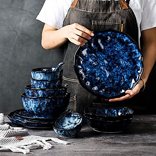 JMBK Juego de vajilla de cerámica, platos y cuencos, juego de 37 unidades, estilo retro, para fiestas familiares, color azul