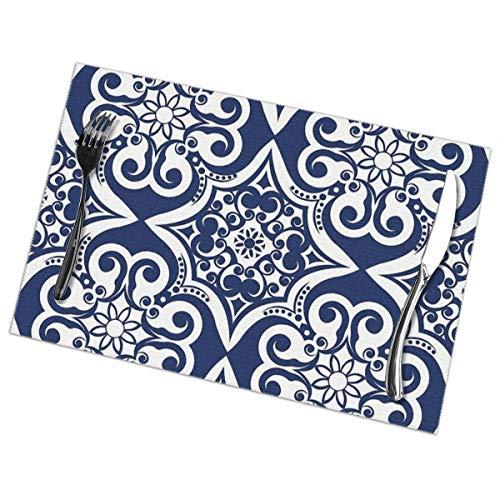 Marineblauw Marokkaanse tegel patroon Placemat wasbaar voor keuken diner tafelmat, gemakkelijk te reinigen gemakkelijk te vouwen plaats mat 12x18 Inch Set van 6