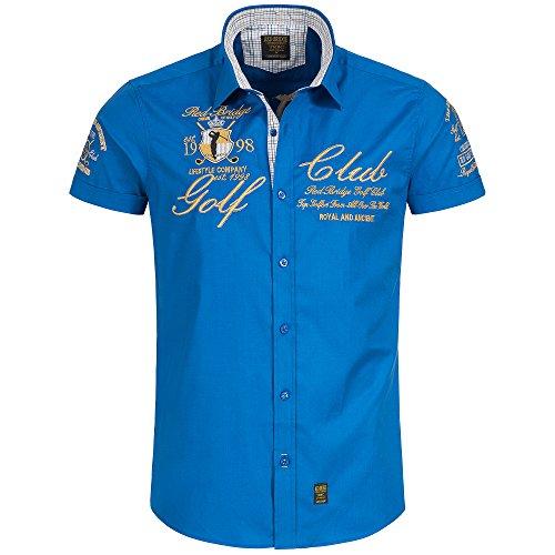 Redbridge Herren Hemd Freizeithemd Baumwolle Golf Club Regular Fit Bestickt (M, Saxe Blau)
