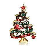 Olydmsky Broches para Ropa Mujer Aleación de Broche árbol de Navidad de Rhinestone Moda con Taladro de Pecho Belle Plaine